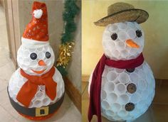 Schneemann in Kelchen Tin Can Crafts, Craft Stick Crafts, Christmas Crafts, Diy Crafts, Christmas Ornaments, Christmas Cubicle Decorations, Theme Noel, Easter Bunny Decorations, Easter Crafts For Kids