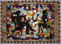 Trendy (framed & sealed) - 24in x 18in - mosaic wine art by Jason Szakal - Art You Need