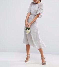 91a3eb99732d ASOS WEDDING Embellished Flutter Sleeve Midi Dress in Grey UK 8/EU 36/US