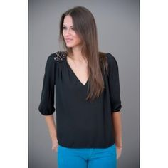 EVERLY: Cafe Au Lace Blouse-Black