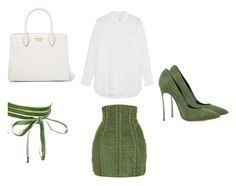 """Green & White Looks"" by mathis-weks on Polyvore featuring mode, Balmain, Equipment, Prada, Boohoo et Casadei"