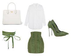 """Green & White Looks"" by mathis-weks on Polyvore featuring mode, Balmain, Equipment, Prada, Boohoo et Casadei"