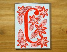 C - Single Hand Block Printed Monogram Card and Envelope - Katherine Watson on etsy.