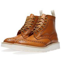 Tricker's x END. Vibram Sole Stow Brogue Boot (Acorn Antique Leather)