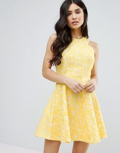 Get this Ax Paris's midi dress now! Click for more details. Worldwide shipping. AX Paris Skater Midi Dress With Racer Straps - Yellow: Dress by AX Paris, Lined lace, High neck, Zip-back fastening, Regular fit - true to size, Machine wash, 100% Polyester, Our model wears a UK 8/EU 36/US 4 and is 170cm/5'7 tall. (vestido por la rodilla, rodilla, media pierna, medias piernas, media piernas, medias pierna, medio largo, por debajo de la rodilla, rodillas, knee-length, 3 / 4 length, knee length…