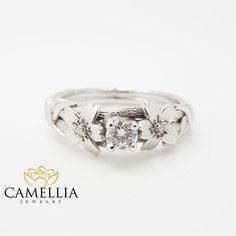 This stunning branch engagement ring comes with a timeless natural white diamond. This Sakura twig engagement ring is a beauty piece made in 14k solid white gold. Whatever way you choose to wear this unique engagement ring, the lovely and adorable leaves, flowers and branches make
