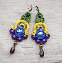 Colorful Chandelier Earrings. Filigree earrings. Elegant long