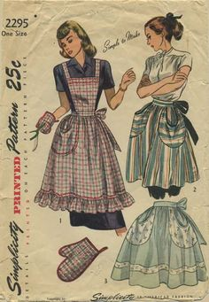 Vintage Apron Sewing Pattern | Simplicity 2295 | Year 1948 | One Size
