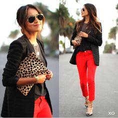red pants / cheetah clutch