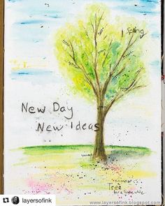 """""""New Day, New Ideas."""" The new Dina Wakley Media Journal features 4 different, versatile surfaces that will  inspire a new creative endeavor daily! Featured here is the Cotton Rag Watercolor Paper- perfect for the Media Scribble Sticks! #Repost @layersofink with @repostapp ・・・ I made a Scribble Stick tree in my new @dinawakley @ranger_ink Media Journal. The journal has four different really interesting surfaces. I love it. And the Scribble Sticks are great for so many fun techniques. This…"""