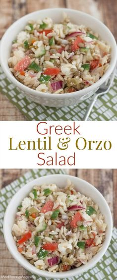 This Greek Lentil Orzo Salad is a delicious, nutritious and economical way to enjoy fresh vegetables and lentils. It's make ahead too! Recipe at MealPlanningMagic.com