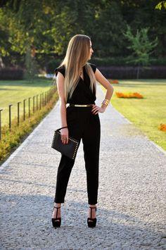 Karina in Fashionland: Total Black - WAREHOUSE Jumpsuit, TOPSHOP Belt, MICHAEL KORS Clutch, RIVER ISLAND Shoes, PRADA Sunglasses, CLUB MANHATTAN Bracelet & I AM Necklace