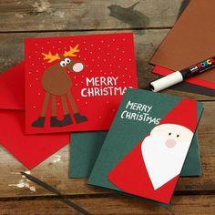 Kort med julemotiver af julemand og rensdyr i karton Chrismas Cards, Christmas Card Crafts, Father Christmas, Merry Christmas, Christmas Decorations, Presents For Best Friends, Navidad Diy, Diy Weihnachten, Diy Halloween