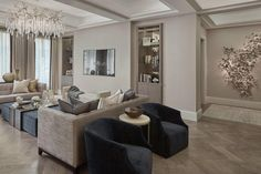 Wide shot of the reception room at a project from last year Classic Interior, Luxury Interior, Luxury Furniture, Interior Design, Living Room Modern, My Living Room, Living Room Interior, Dream Home Design, House Design