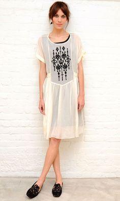 Alexa Chung in white embroidered dress at Pas De Calais SoHo flagship launch
