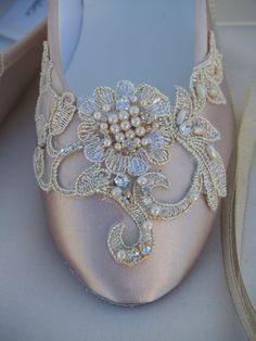 Colors Available: Champagne/Gold, As shown  Flat shoes!!! I meticulously designed these beautiful shoes fit for a real princess on her wedding day!!!!  I hand dyed and hand embellished them, these are not found in stores!!! I used a beautiful hand stitched flower appliqué enhanced with pearls and crystals, I added a reversible champagne/gold edging ribbon to tie around the ankles ballerina style; Please look at every picture.  US Adult Sizes: 5, 5.5, 6, 6.5, 7, 7.5, 8, 8.5, 9, 9.5, 10, 11…
