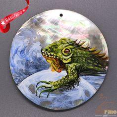 New Fashion Pendant Hand Painted chameleon Natural Black Lip Shell ZL303176 #ZL #Pendant