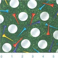 Timeless Treasures Golf Balls & Tees Green