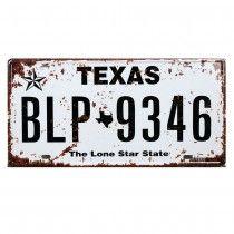Placa de carro antiga decorativa metalica vintage - Texas