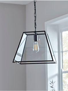 Antique Effect Glazed Trapeze Pendant - Ceiling Lights - Lighting Lounge Lighting, Hall Lighting, Bedroom Lighting, Basement Lighting, Kitchen Lighting, Lighting Ideas, Lantern Roof Light, Lamp Light, Hall Lights Ceiling