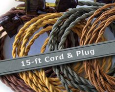 Pendant Light Cord - 15ft - Cloth Covered Wire - Vintage Style Lamp Wire - Pendant Light Wire