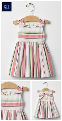 Open-Back Stripe Dress - Diy Crafts - Baby Girl Frocks, Kids Frocks, Frocks For Girls, Little Girl Dresses, Girls Frock Design, Baby Dress Design, Baby Girl Fashion, Kids Fashion, Korean Fashion