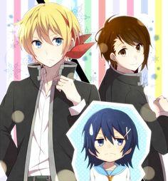 Nisekoi Gender Swap : Kirisaki Chitoge, Ichijou Raku & Onodera Kosaki - fanart by Eikichi (Yukiti09) - originally on Pixiv [ http://www.pixiv.net/member_illust.php?mode=medium&illust_id=43774250 ]