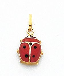 Quality Gold Red And Black Enameled Ladybug Charm, 14K Yellow Gold - Precious Accents