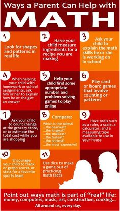 Ways a parent can help with Math.