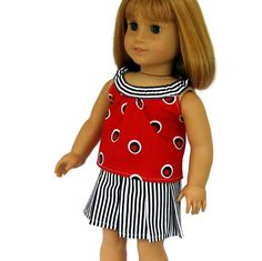 American Girl Doll Clothes 4th of July Top and Skirt