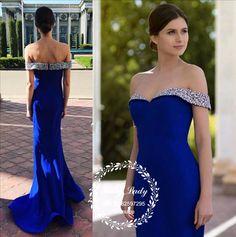 Royal Blue Mermaid Prom Dresses 2018 Dazzling Silver Beading Off Shoulder Long Formal Evening Dress Party Gown Vestidos De Fiesta