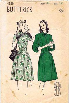 Butterick 4180 Vintage Sewing Pattern Teens Long Torso Dress Size 12 Bust 30