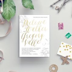 soft and pretty floral calligraphy wedding invite with gold foil | Smitten on Paper