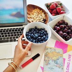 Mimi Ikonn   Office snacks   Blueberries, cherries, strawberries, cashews, nuts, granola, laptop, planning, notebooks