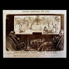 """""""Punch's Almanac for 1879"""" - """"Edison's Telephonoscope Transmits Light As Well As Sound"""".Punch imagines...""""Every evening Pater and Materfamilias set up an electric camera obscura over their bedroom mantel-piece and gladden their eyes with the sight of the Antipodes, and converse gaily with them through the wires."""""""