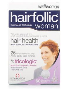 Vitabiotics Wellwoman Hairfollic X 60 Tablets Wellwoman Tricologic 60 tablets, are a slow disperse formula, ideal for women of all ages to help maintain healthy hair growth as they age, hair thickness and strength and the condition of their hair  http://www.MightGet.com/march-2017-1/vitabiotics-wellwoman-hairfollic-x-60-tablets.asp