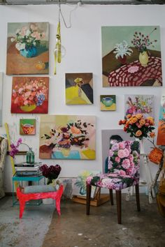 A collection of lovely paintings in Laura Jones' studio.