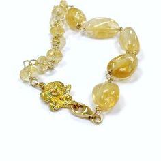 Citrine Bracelet Yellow Jewelry Gold Jewellery by jewelrybycarmal, $65.00