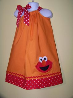 Elmo Pillowcase Dress / Sesame Street / Big Bird / Orange / Red Dots / Newborn / Infant / Baby / Girl / Toddler / Custom Boutique Clothing