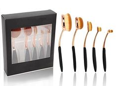 BeautyCoco 5 Pcs Plating Oval Makeup Brush Set Professional Foundation Contour Concealer Blending Cosmetic Brushes with Gift Box Rose Gold * Check out the image by visiting the link.