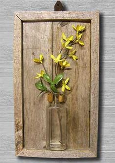 Rustic Wall Vase $24, made from an old apothecary bottle and reclaimed wood. Perfect for a little seasonal touch all year long! www.rusticworkbench.com