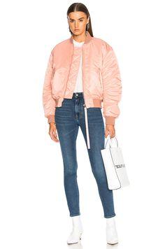 Acne Studios Clea Bomber Jacket in Pale Pink | FWRD