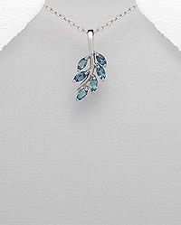 London Blue CZ Leaf Pendant