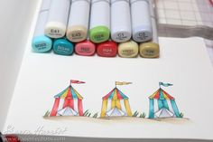 A close up of pretty beach cabanas, colored with markers by Sharon Harnist. Alcohol Markers, Copic Markers, Design Tutorials, Art Tutorials, Coloring Tips, Adult Coloring, Beach Cabana, Distress Markers, Scrapbook Blog