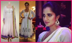 The charming Sania Mirza spotted in a marvelous white chanderi anarkali by Kanika Kedia