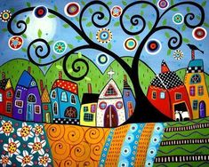 Karla Gerard, American, b. 1960, Folk Art, Polka Dot Church