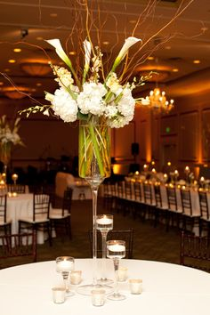 Calla, Hydrangea, Orchid, Willow, Centerpiece