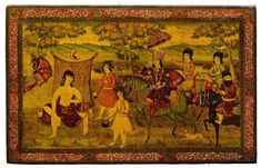 A LACQUERED PAPIER-MÂCHÉ PANEL DECORATED WITH KHOSROW AND SH