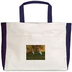 Egret and Stork in Old Florida- Beach Tote> by Patty Weeks