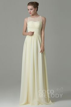 Hot Sale Sheath-Column Illusion Natural Floor Length Chiffon Light Yellow Sleeveless Zipper Bridesmaid Dress COZK16005